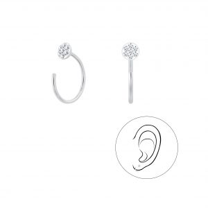 Wholesale Silver Round Crystal Ear Huggers