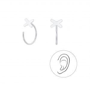 Wholesale Silver Cross Ear Huggers