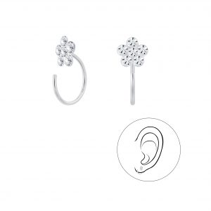 Wholesale Silver Flower Crystal Ear Huggers