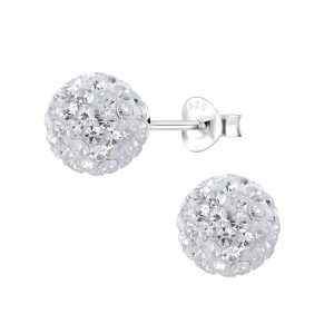 Wholesale 8mm Crystal Ball Silver Stud Earrings