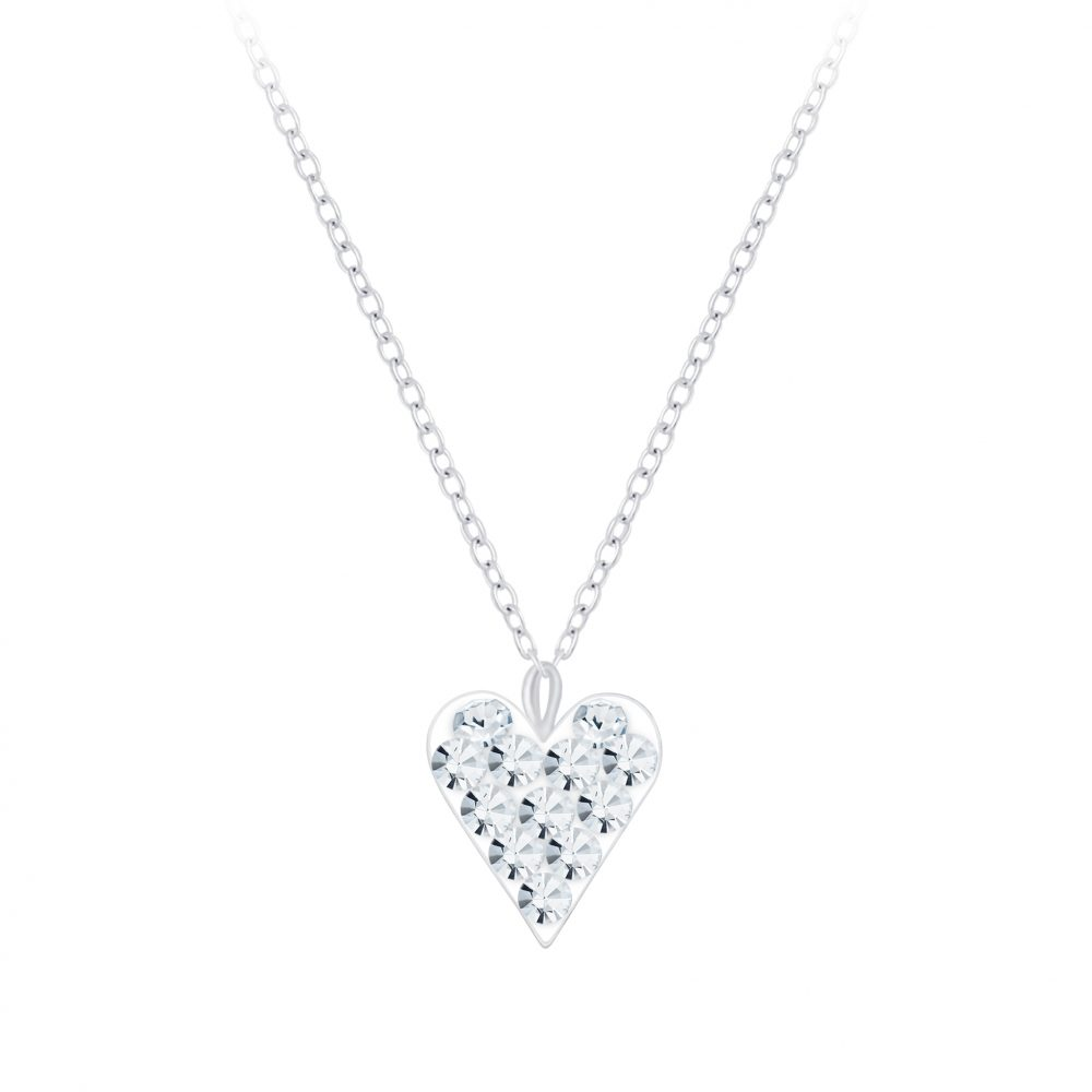 Wholesale Silver Heart Crystal Necklace