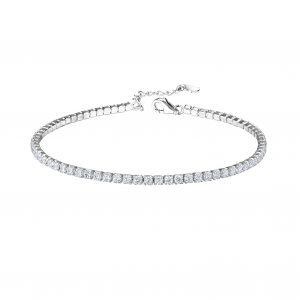 Wholesale Silver Tennis Bracelet with 2mm Cubic Zirconia