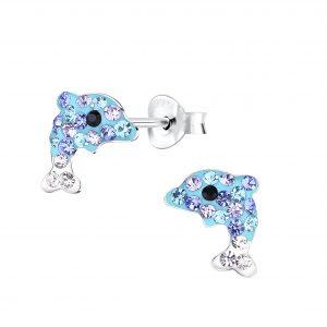 Wholesale Silver Dolphin Crystal Stud Earrings