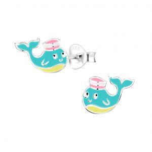 Wholesale Silver Whale Stud Earrings