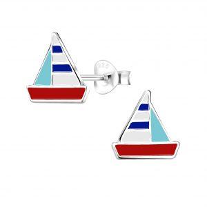 Wholesale Silver Sailboat Stud Earrings