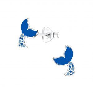 Wholesale Silver Mermaid Tail Stud Earrings