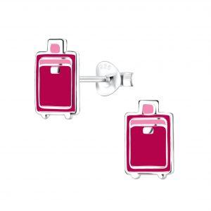 Wholesale Silver Suitcase Stud Earrings