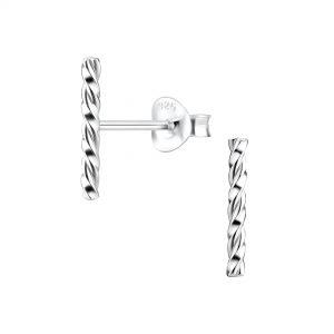 Wholesale Silver Twisted Stud Earrings