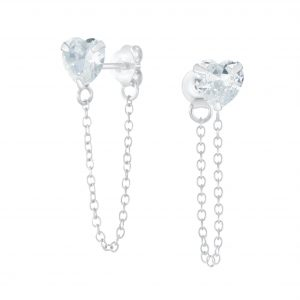 Wholesale 6mm Heart Cubic Zirconia Sliver Stud Earrings with Chain