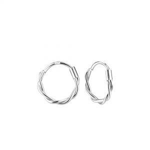 Wholesale 11mm Silver Twisted Hoop Earrings