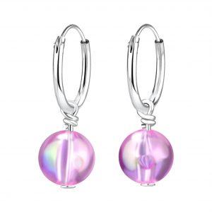 Wholesale Silver Handmade Bead Hoop Earrings