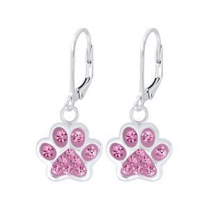 Wholesale Silver Paw Print Lever Back Earrings