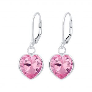 Wholesale Silver Heart Cubic Zirconia Lever Back Earrings