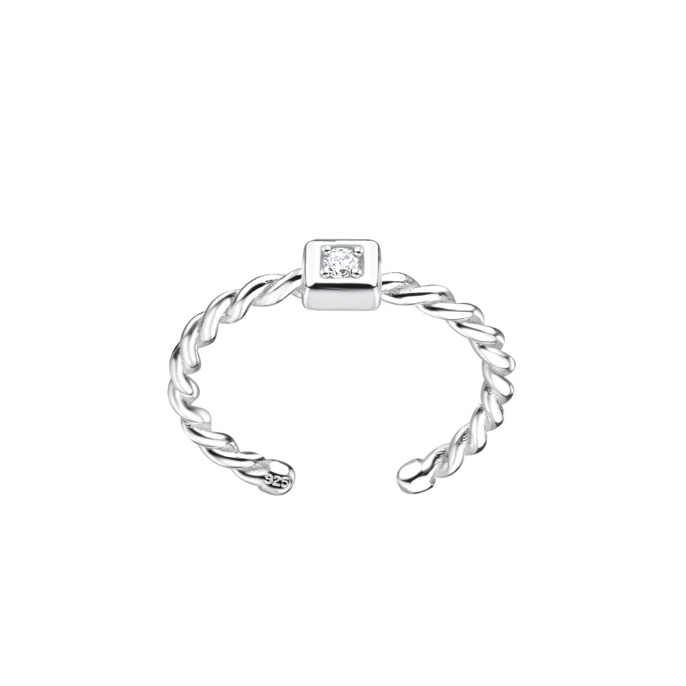 Wholesale Silver Square Twisted Toe Ring