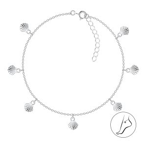 Wholesale 24cm Silver Shell Charm Anklet with Extension