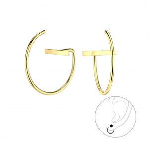 Wholesale Silver Thread Through Bar Earrings