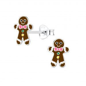 Wholesale Silver Gingerbread Stud Earrings