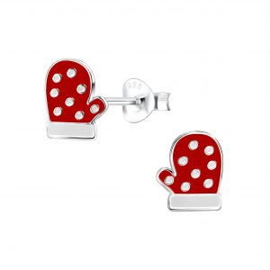 Wholesale Silver Christmas Glove Stud Earrings
