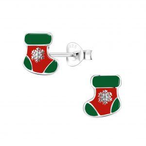 Wholesale Silver Christmas Stocking Stud Earrings