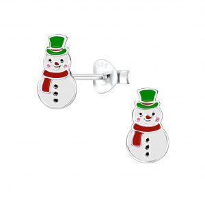 Wholesale Silver Snowman Stud Earrings