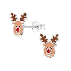 Wholesale Silver Reindeer Stud Earrings