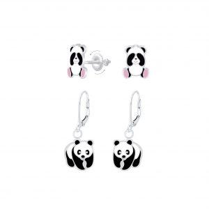 Wholesale Silver Panda Earrings Set