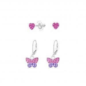 Wholesale Silver Heart and Butterfly Earrings Set