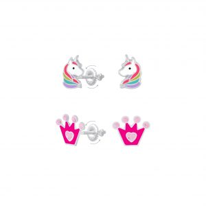 Wholesale Silver Unicorn and Crown Screw Back Earrings Set