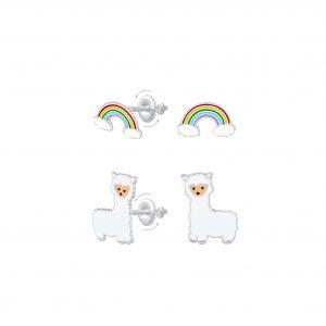 Wholesale Silver Rainbow and Alpaca Screw Back Earrings Set