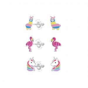 Wholesale Silver Alpaca Flamingo and Unicorn Screw Back Earrings Set