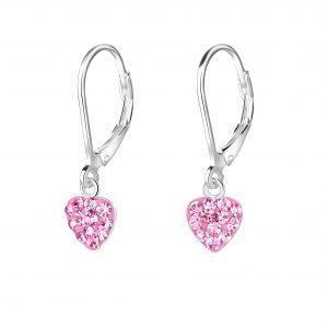 Wholesale Silver Heart Crystal Lever Back Earrings