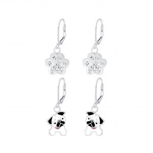 Wholesale Silver Dog Lovers Lever Back Earrings Set