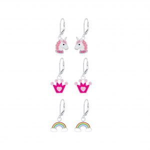 Wholesale Silver Colorful Lever Back Earrings Set