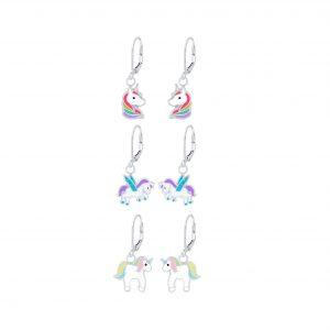 Wholesale Silver Unicorn Lovers Lever Back Earrings Set