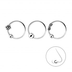 Wholesale 10mm Silver Ball Closure Ring Set - 3 Pack