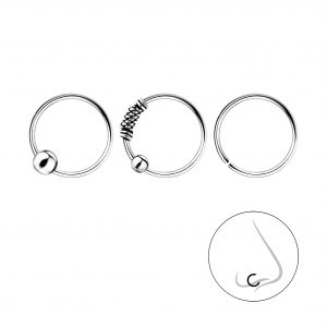 Wholesale 10mm Silver Nose Ring Set - 3 Pack