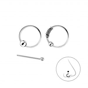 Wholesale Silver Mixed Nose Jewelry Set – 3 Pack