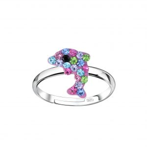 Wholesale Silver Dolphin Adjustable Ring