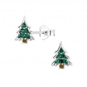 Wholesale Silver Christmas Tree Stud Earrings