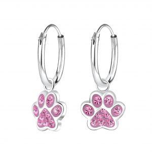 Wholesale Silver Paw Print Charm Hoop Earrings