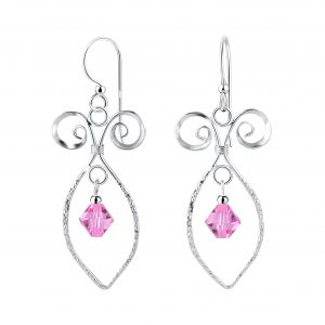 Wholesale Silver Spiral Earrings with Glass Bead