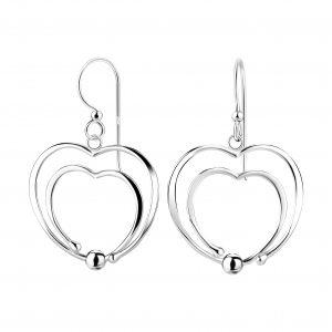 Wholesale Silver Double Heart Earrings