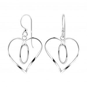 Wholesale Silver Twisted Heart Earrings
