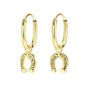 Wholesale Silver Horseshoe Charm Hoop Earrings