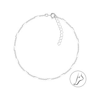 Wholesale 25cm Silver Cable Bar Anklet With Extension