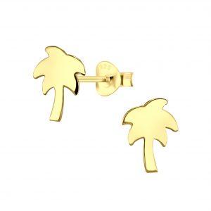 Wholesale Silver Palm Tree Stud Earrings