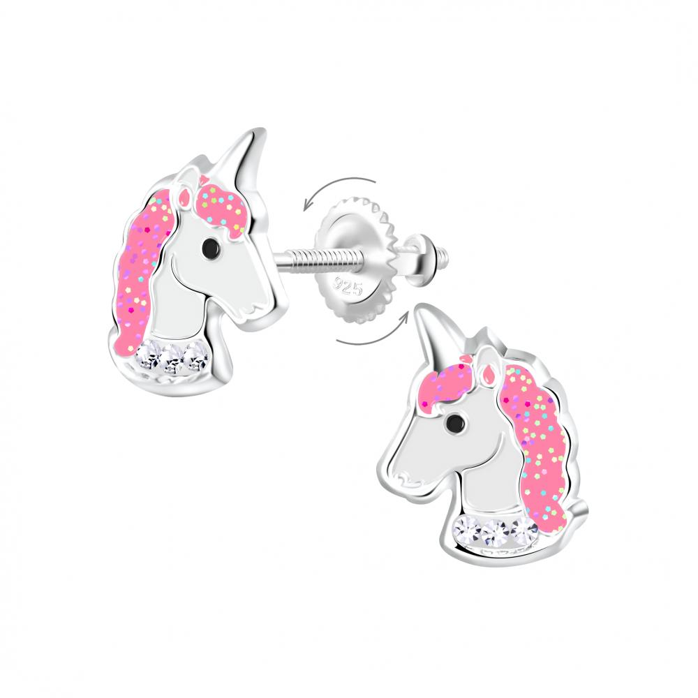 Wholesale Silver Unicorn Screw Back Earrings
