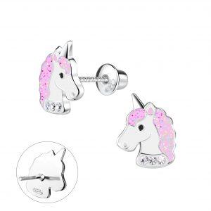 Wholesale Silver Unicorn Screw Back Bullet Earnings