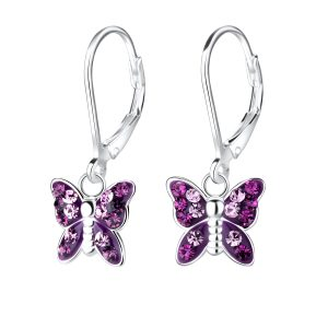 Wholesale Silver Butterfly Crystal Lever Back Earrings