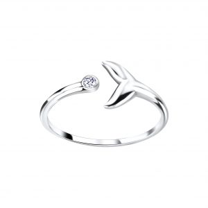 Wholesale Silver Whale Tail Open Ring
